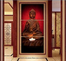 LIMITED EDITION BUDDHA GOLDEN HUES 3-PIECE CANVAS PAINTING SIZE 2 WITH F... - $104.93