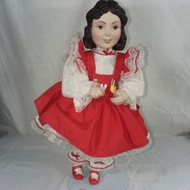 Franklin Heirloom Dolls Girl Red Jumper Dress Red Shoes White Blouse 1989 - $16.83