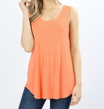 Flowy Tank Tops, Flowy Tank Top, Long Tank Tops, Womens, Peach, Colbert Clothing