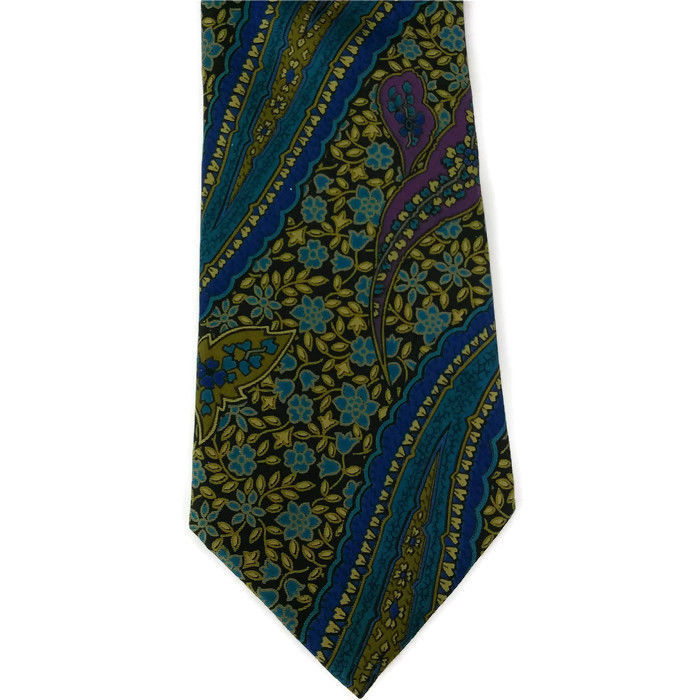 Primary image for Geoffrey Beene Men's Necktie 100% Silk Blue Green Paisley