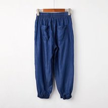 Dark Blue Denim CROP PANTS Drawstring Elastic Waisted Crop HAREM PANTS Trousers image 2