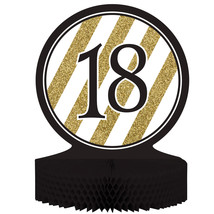 "Black & Gold 18th Birthday Honeycomb Centerpiece 12"" x 9"", Case of 6 - €31,79 EUR"