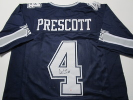 DAK PRESCOTT / AUTOGRAPHED DALLAS COWBOYS BLUE CUSTOM FOOTBALL JERSEY / COA