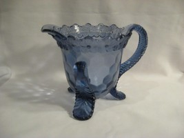BLUE GLASS FOOTED CREAMER - INTERESTING AND UNIQUE - MAKER UNKNOWN - $28.98