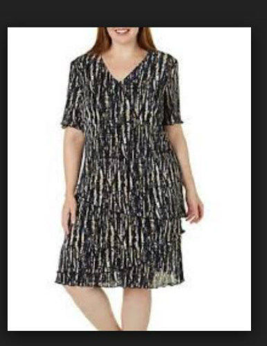 Connected Women's Petite Printed Tiered Jersey Dress Color Midnight Multi