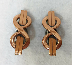 Clip On Earrings Matisse Renoir Infinity Loop Figure 8 Copper Plated Vin... - $14.84
