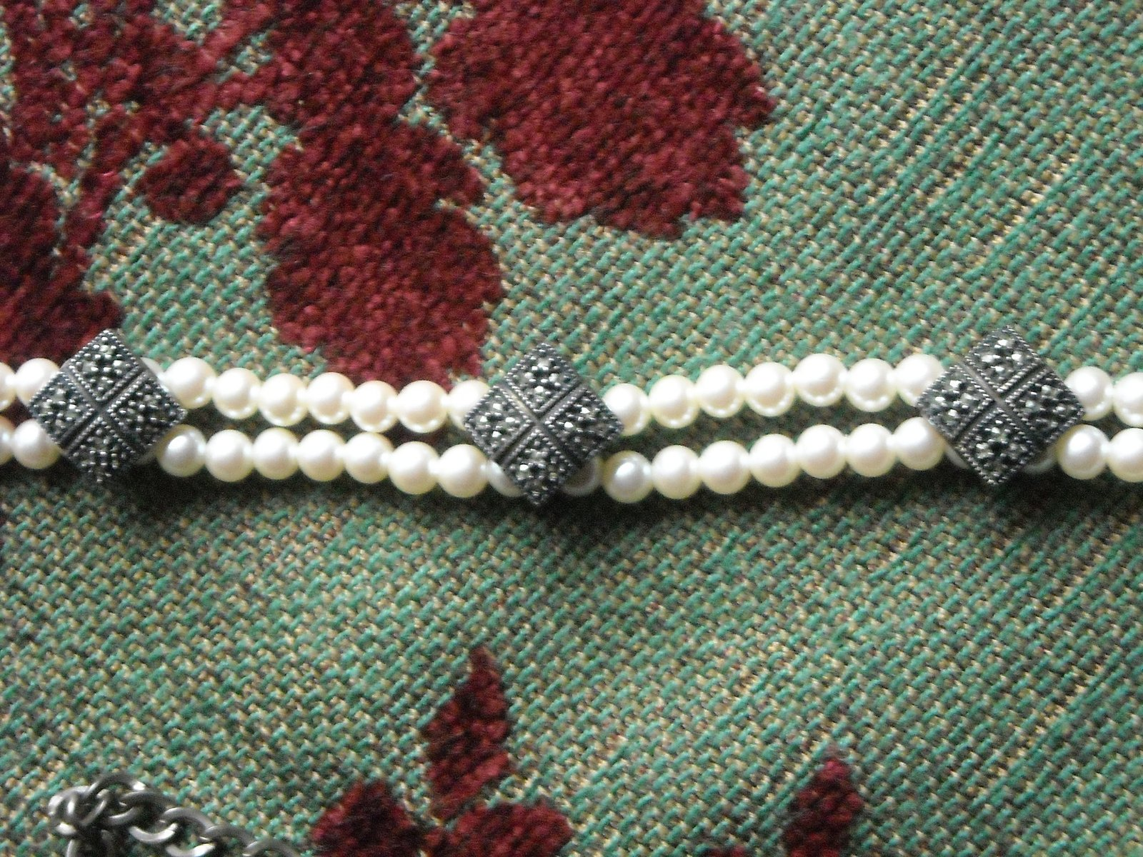 Vintage Judith Jack Double Strand Pearl Choker Sterling Silver & Marcasite Clips