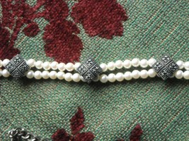 Vintage Judith Jack Double Strand Pearl Choker Sterling Silver & Marcasi... - $48.95