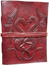 Handmade Leather Journal Book of Shadows Double Dragon Embossed w/ Leath... - $42.00