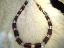 Natural Healing Large Purple Jasper Necklace with Clear Quartz Beads - $23.75