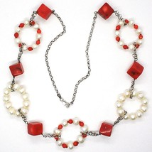 SILVER 925 NECKLACE, CIRCLES PEARLS AND CORAL ALTERNATING, CUBES OF CORAL image 2
