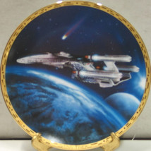 Star Trek Voyagers Series Triple Nacelled Ship Ceramic Plate 1994 COA BOXED - $29.02
