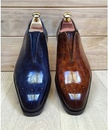BROWN BLUE leather shoes, Men's Lace Up Cap Toe Dress shoes 2 PAIR HOT SALE - $369.99