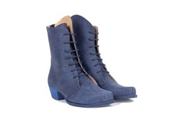New Style Navy Blue Cuban Heel Back Stay Zipper Women Real Leather Long Boots - $149.99+