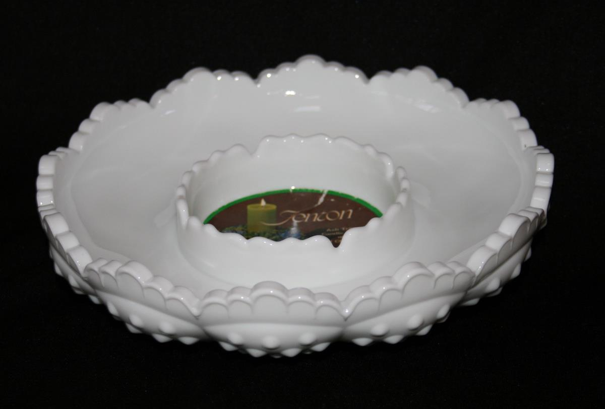Fenton Hobnail Milk Glass AshTray, Candle Bowl or Chip & Dip with Tag  #1974