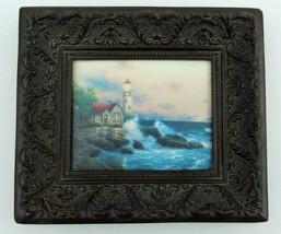 Thomas Kincade Beacon Of Hope Framed Library Print Wall Art Brown Wood S... - $34.64