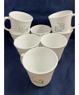 Vintage Corelle Rosemarie Coffee Cups Pink Tulips (8)  No Defects Great ... - $31.68