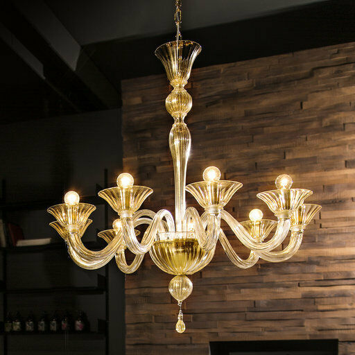 Primary image for Mazzega Fegalliano Amber Chandelier Trasparent Amber Murano Glass NEW