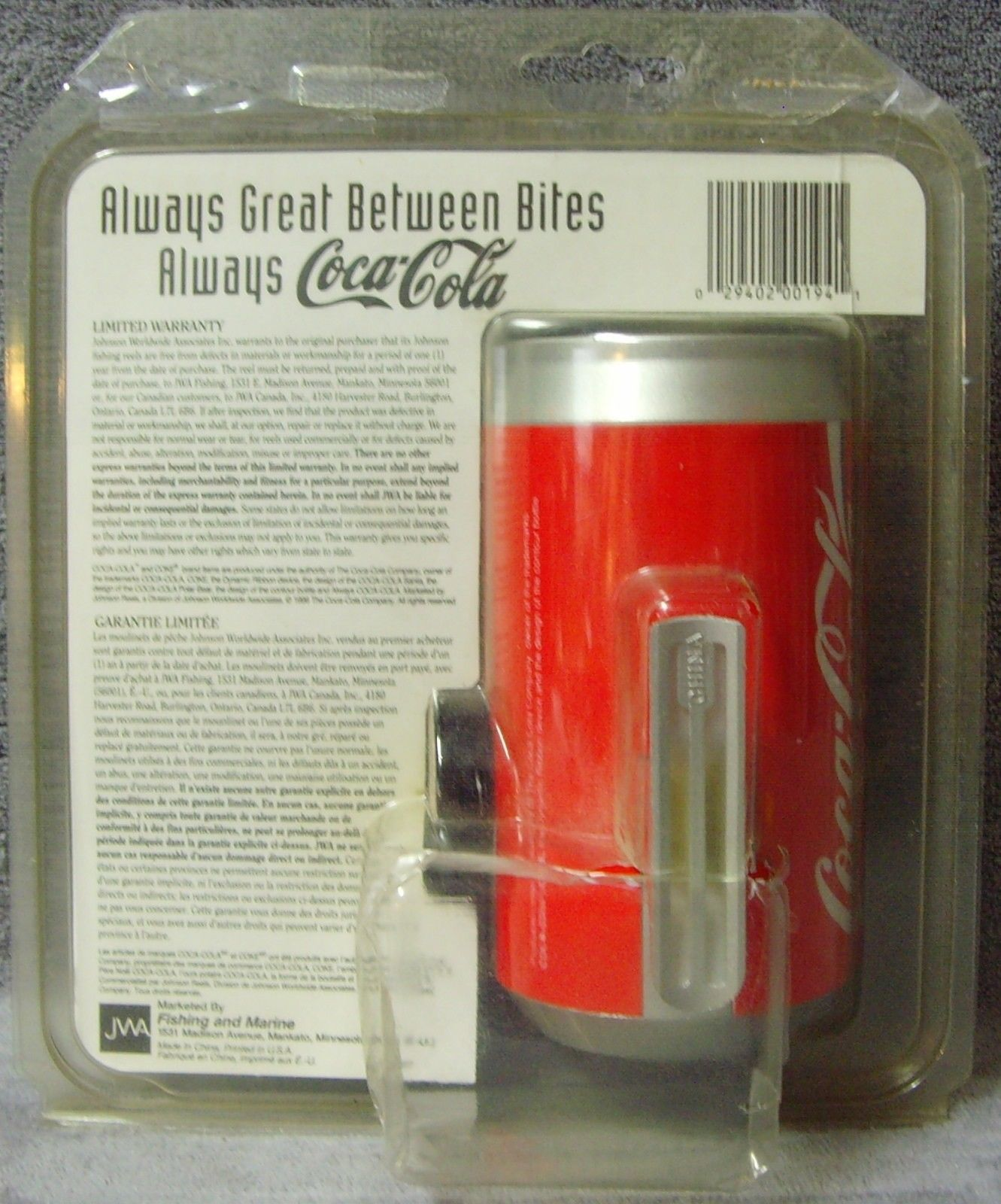 Vintage•1996•New in Package•Johnson•Coca-Cola Can•Fishing Reel•Always Coca-Cola!