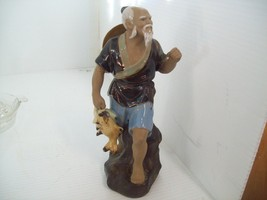 Oriental Man Holding Fish Figurine Made of Clay, Numbered, Missing Fishi... - $12.86