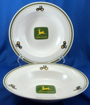 """Gibson John Deere Tractor Rimmed Soup Bowls Set of 2 White and Green 9"""" - $23.47"""