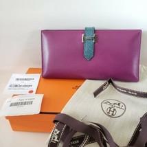 NEW $4150 Hermes Paris Chevre Leather Bearn Wallet Snakeskin Trim - $2,000.00