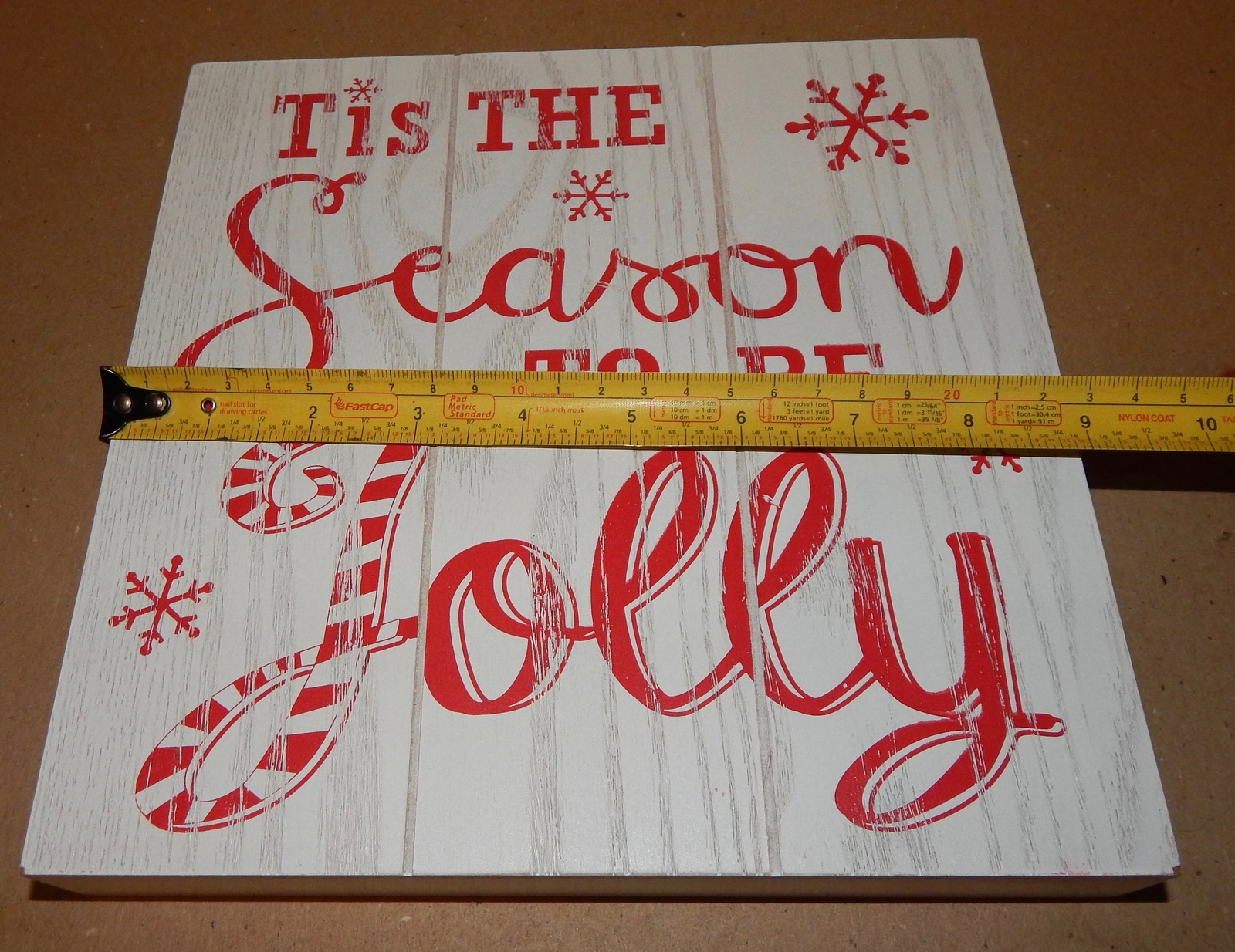 "Christmas Square Wood Sign Decor 9"" x 9"" x 1 5/16"" White Season To Be Jolly 151X"