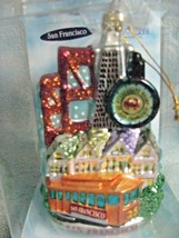 Noble Gems Mercury Glass Christmas Ornament San Francisco City Scape Boxed  - $23.71