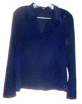 Sz M - The Limited Navy Blue Sheer Polyester Spandex V-Neck Long Sleeve Top - $23.74