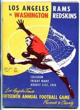 LA Rams v Washington Redskins Program 8/21/59 15th NFL LA TIMES charity ... - $93.12