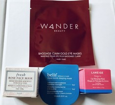 4 Pc Deluxe Samples LANEIGE Lip Mask,Fresh Rose Mask,belif,WANDER Gold E... - $236,04 MXN