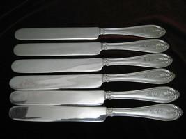 Silverplate VICTORIAN BREAKFAST KNIVES Lot of 6 UNIDENTIFIED Flatware MONO - $59.39