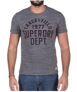 NEW SUPERDRY TRACK & FIELD ATHLETIC DEPT CREW NECK LOGO PRINT GREY T SHI... - $19.99