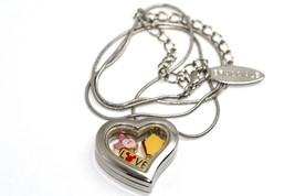 Disney Heart Locket Silver Necklace Floating Winnie The Pooh Piglet Love Charms - $24.74