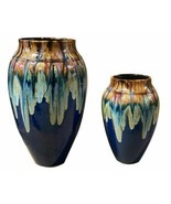 Copper With Blue Glaze Asian Fusion Indoor Outdoor  Planters Vase set of 2 - $122.06 CAD