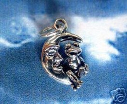 LOOK Toad Frog sitting on moon Charm Sterling Silver .925 - $10.64