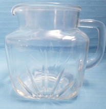 Federal Glass Crystal Clear 36oz Pitcher Container Fan & Star Design Mid... - $26.95