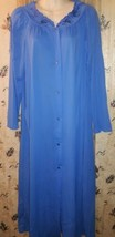 Womens  SHADOWLINE Nylon Sapphire Nightgown Robe  w/Embroidered Flowers... - $21.77