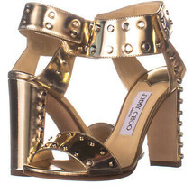 Jimmy Choo Veto Studded Ankle Strap Sandals, Gold 411, Gold, 6 US - $260.15