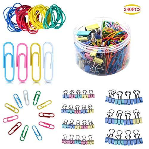 240 Pcs Assorted Colors Binder Clips, Paper Clips, Rubber Bands, Paper Clamps,Pa