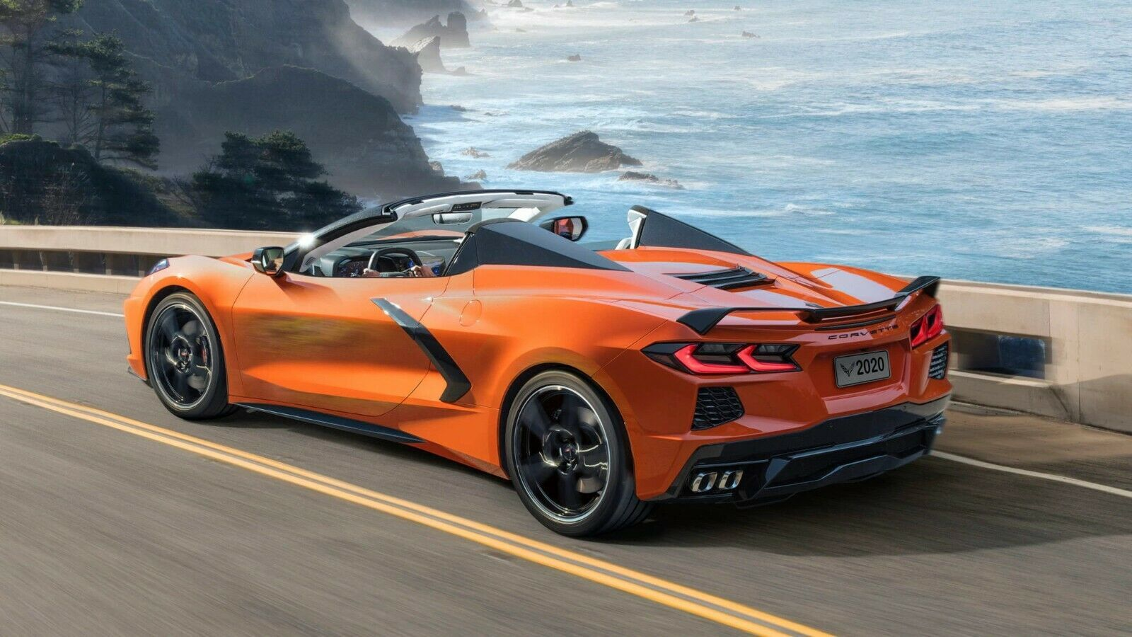 Primary image for 2020 Corvette Orange C8 Convertible 24X36 inch poster, sports car,