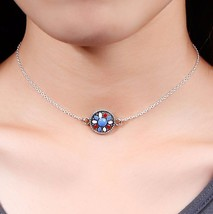 Enamel flower Choker Silver Plated Chain Round Colourful Flower - $4.71