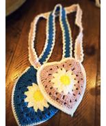Crochet daisy heart children's purse - $15.00