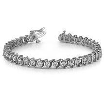 Solid 925 Silver Brilliant Cut Swarovski Diamond Womens Classic Tennis B... - $229.99