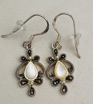 Vintage Mother of Pearl and Marcasite Sterling Silver Dangle Earrings - $70.00