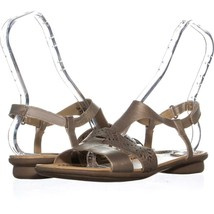 Naturalizer Westly Flat Buckle Sandals 487, Gold Leather, 10 US / 40 EU - $21.11