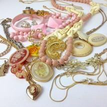 Costume Jewelry Lot pink Pastels Cameo Locket Boho Mod mixed materials v... - $34.65