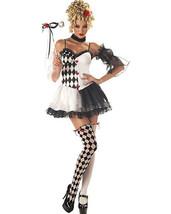 Le Belle Harlequin Costume Small 6-8 Black White Masquerade Jester - $32.35