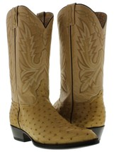 mens sand beige oryx real ostrich skin crocodile leather western cowboy boots - $251.99