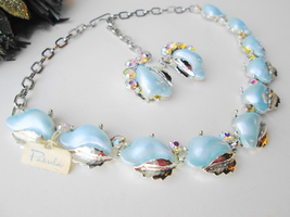 Pakula Demi Parure Necklace Earring Set Vintage Baby Blue Moonglow & AB ... - $69.00